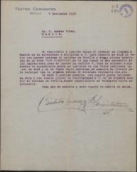 """Carta de Cándida y Blanquita Suárez a Amadeo Vives, pidiéndole su obra """"Los flamencos"""" para representarla en Andalucia."""