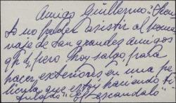 Tarjeta de visita de Guadalupe Muñoz Sampedro a Guillermo Fernández-Shaw excusándose por no poder asistir a un homenaje a los hermanos Quintero.