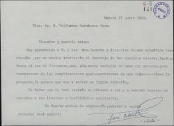 Carta de José Isbert a Guillermo Fernández-Shaw, adhiriéndose al homenaje a los hermanos Quintero, al que no puede asistir por una enfermedad.