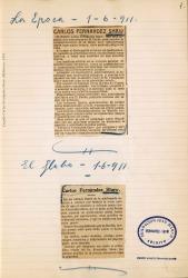 Cuaderno 31 (1911). Artículos de la muerte y entierro de Carlos Fernández Shaw.