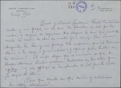 Carta de Jesús Tordesillas a Guillermo Fernández-Shaw, elogiando una obra de Francisco Serrano Anguita, para la que estudia un papel.