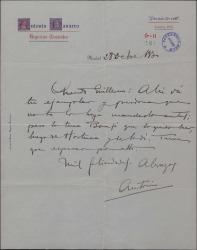 Carta de Antonio Navarro a Guillermo Fernández-Shaw, devolviéndole un libreto.