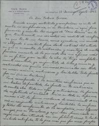 """Carta de Ramón Peña a Federico Romero, dando noticias de la realización y montaje de la obra """"Loza lozana""""."""