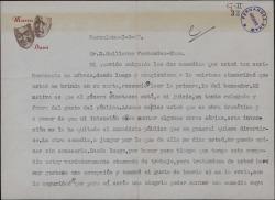 Carta de Marco Davó a Guillermo Fernández-Shaw, pidiéndole una obra suya para leerla.