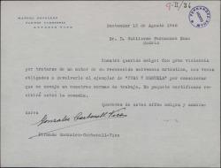 """Carta de González-Carbonell-Vico a Guillermo Fernández-Shaw, anunciando que le devuelven la obra """"Juan y Manuela""""."""