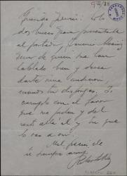 Carta de Roberto Rey a Federico Romero, presentándole al portador de la misma que desea darle una audición.