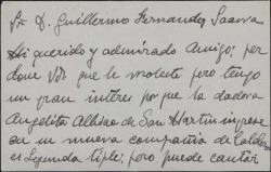 Tarjeta de visita de Pedro Barreto, presentando a Guillermo Fernández-Shaw una tiple que desea ingresar en su compañía.