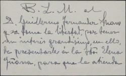 Tarjeta de visita de Alberto Romea a Guillermo Fernández-Shaw, presentándole a una señorita que tiene aspiraciones artísticas.