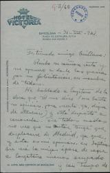 Carta de José Franco a Guillermo Fernández-Shaw, refiriéndose a la obra de una autor que éste le ha recomendado.