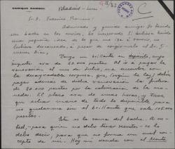 Carta de Enrique Rambal a Federico Romero, explicándole por qué no le ha enviado un dinero.