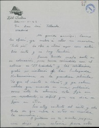 """Carta de Enrique Rambal a José Tellaeche, diciéndole que vuelve a estar en marcha la obra """"Sexto piso""""."""