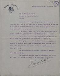 Carta de Enrique Guitart a Federico Romero, diciéndole que ha recibido una comedia suya y de Guillermo Fernández-Shaw y que desearía estrenarla en breve.