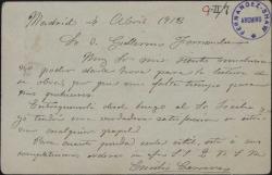 Carta de Emilio Carreras a Guillermo Fernández-Shaw, lamentando no poder darle hora para la lectura de una obra suya.