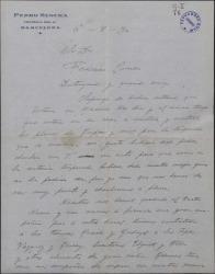 Carta de Pedro Segura a Federico Romero, pidiéndole una solución para su contrato, que le es imposible cumplir.