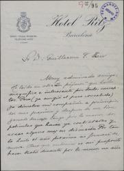 """Carta de Josita Hernán a Guillermo Fernández-Shaw, diciéndole que ha leido y le ha gustado """"Los pájaros"""" pero que no puede estrenarla por tener varios compromisos previos en el próximo año."""