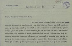 Carta de Paco Melgares a Guillermo Fernández-Shaw, lamentando que su empresa no haya aceptado una obra suya.