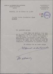 Carta del Conde de Colombí a Casto Fernández-Shaw, remitiéndole fotocopias de cartas de Carlos Fernández-Shaw a Juan L. Estelrich.