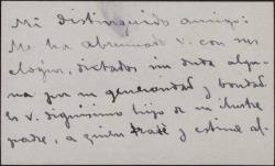 Tarjeta de visita del Conde de Leyva a Guillermo Fernández-Shaw, agradeciéndole sus elogios.