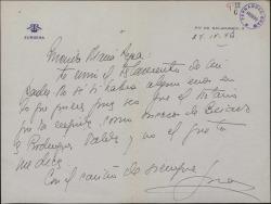 Carta de la Marquesa de Zurgena a María Pepa Baldasano, enviándole un testamento.