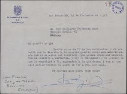 Carta de Francisco Sáenz de Tejada, Barón de Benasque, a Guillermo Fernández-Shaw, refiriéndose a unos actos de homenaje a Cervantes.