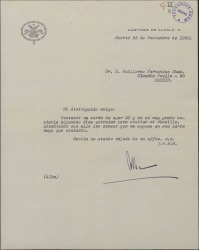 Carta del Duque de Alba a Guillermo Fernández-Shaw, enviándole unas entradas para visitar su museo.