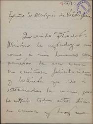 Carta de Enrique Vaquer al Marqués de Valdeiglesias, con una alusión a Guillermo Fernández Shaw.
