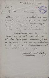 Carta de Miguel Blas a Guillermo Fernández Shaw, enviándole la reseña de un monumento próximo a inaugurarse.