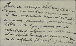Tarjeta de visita de José Moreno Carbonero, enviando al Marqués de Valdeiglesias unas fotografías de sus últimas obras.