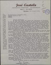 Carta de José Castells a Guillermo Fernández-Shaw, pidiéndole le ponga en contacto con el hijo del maestro Vives con el fin de colaborar en el homenaje a éste.