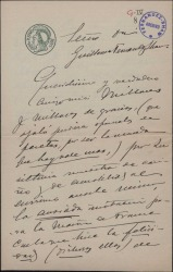 Carta de José Gartner a Guillermo Fernández Shaw, agradeciéndole el envío de una felicitación.