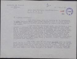 Carta de Germán de Falla a Guillermo Fernández-Shaw, dándole su voto en SGAE por encontrarse enfermo.