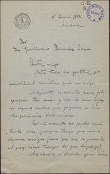 """Carta de Cecilio Pla a Guillermo Fernández Shaw, enviándole unas fotografías para la revista """"Vida Aristocrática""""."""