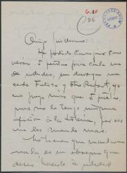 Carta de Antonio Palacios a Guillermo Fernández-Shaw, enviando loteria y hablando de otros temas.