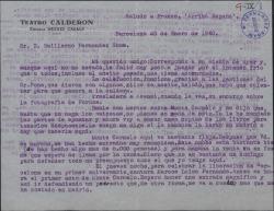 Carta de Miguel Casals a Guillermo Fernández-Shaw, dándole noticias de una obra suya que se está representando en Barcelona.