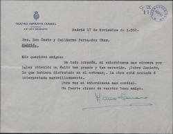 Carta de Arturo Serrano (hijo) a Guillermo y Casto Fernández-Shaw, felicitándoles por el éxito de un estreno.