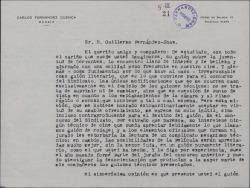 Carta de Carlos Fernández Cuenca a Guillermo Fernández-Shaw, sobre un guión cinematográfico de éste.