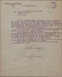Carta de Cándida y Blanca Suárez Guillermo Fernández-Shaw, diciéndole que la Compañia del Teatro Carvantes permanecerá en Sevilla hasta fin de año.