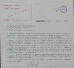 Carta de Demetrio Corbi a Guillermo Fernández-Shaw, sobre un guión que le interesa y otros temas.