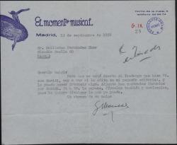 """Carta de Genaro Monreal a Guillermo Fernández-Shaw, comunicándole su intención de editar en """"El momento musical"""" un fandango suyo y del Jesús Guridi."""