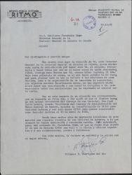 Carta de Fernando Rodríguez del Río a Guillermo Fernández-Shaw, felicitándole por el nombramiento de Director General de la Sociedad General de Autores de España.