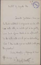 Carta de Miguel Maestre a Guillermo Fernández-Shaw, preocupado por si se ha agravado la enfermedad de Carlos Fernández Shaw.