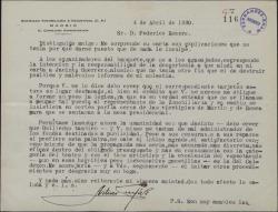 Carta de Arturo Cuyás de la Vega a Federico Romero, quejándose de los organizadores de cierto banquete.