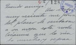 Tarjeta de visita de Luis F. Domínguez de Igoa a Guillermo Fernández-Shaw, lamentando que un luto reciente le impida aceptar su invitación.