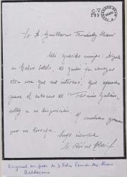 Carta de Cipriano Rivas Cherif a Guillermo Fernández-Shaw, dándole un encargo para Calvo Sotelo.