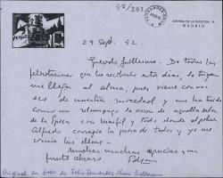 Carta de Edgar Neville a Guillermo Fernández-Shaw, agradeciéndole su felicitación y recordando su juventud.