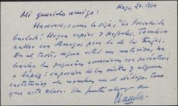 Tarjeta de visita de Claudio de la Torre a Guillermo Fernández-Shaw, hablando de una obra que se proponen hacer.