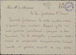 Tarjeta de José María de Arozamena a Guillermo Fernández-Shaw, felicitándole por su última obra.