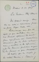 Carta de Luis Manzano a Guillermo Fernández-Shaw, felicitándole por el éxito de un estreno.