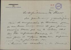Carta de Ángel Torre del Álamo a Guillermo Fernández-Shaw, solicitando un favor para un empresario de Almería.