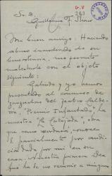 Carta a Guillermo Fernández-Shaw, pidiéndole recomiende una obra que se ha presentado a un premio teatral.